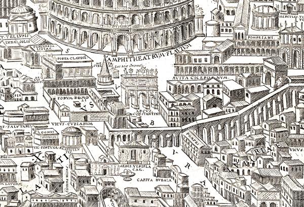 Pirro Ligorio. Antiquae Urbis Imago (1561). Detalle