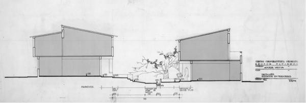 """Seccion por pasaje peatonal entre unidades duplex en donde la arquitectura pasa a un segundo plano mientras que el diseño del """"espacio entre las cosas"""" que a su vez resuelve la evacuación de pluviales y la parquización es detallado minuciosamente. Cooperativa Mesa 1, equipo tecnico del CCU, Montevideo 1971-75"""