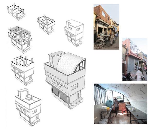 Iglu, Mombai (2014). Instalación temporal diseñada por el estudio URBZ para ser instalada en la cubierta de una casaen Shivaji Nagar. La estructura en cuestión se ubica sobre la casa malva a la derecha de la imagen.