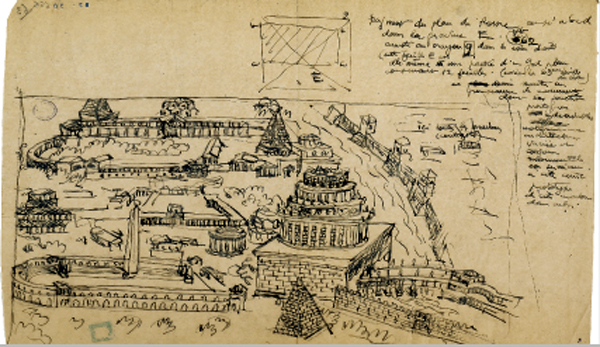 Le Corbusier (1915). Versión de Roma inspirada en la Antiquae Urbis Imago de Pirro Ligorrio.