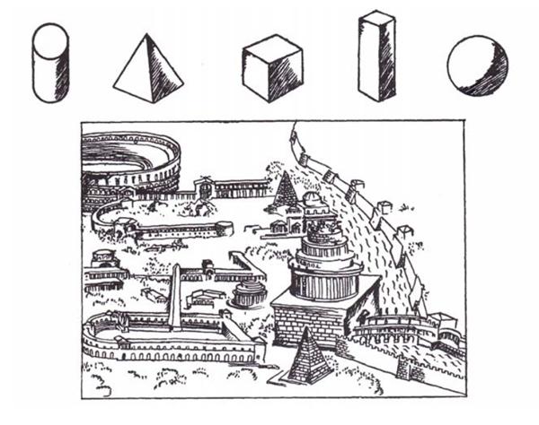 Le Corbusier. Versión de la Roma de Pirro Ligorio tal como apareció en Vers une architecture (1923)