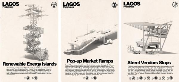 Inteligencias Colectivas, prototipos para la ciudad de Lagos, Nigeria (2014). Cada uno de estos prototipos se proponen para solucionar tres dimensiones de la infraestructura de esta ciudad africana de más de veinte millones de habitantes: energía, agua y transporte.