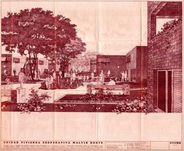 Alfredo Nebel Farini: Cooperatica VICMAN (Montevideo, 1970-1974). Perspectiva donde se muestra la relacion de los espacios exteriores y las unidades habitacionales.