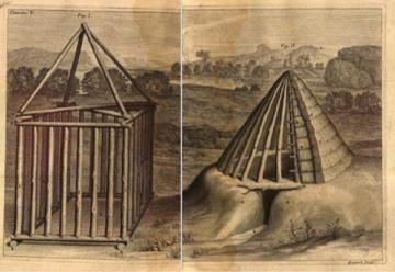 Claude Perrault: Dix livres de Vitruve (1673). Cabaña primitiva de acuerdo a Vitruvio
